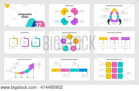 Set Of Infographic Presentation Slides - Swot Flower Diagram, Cycle And Matrix Charts, Spaceship Bus