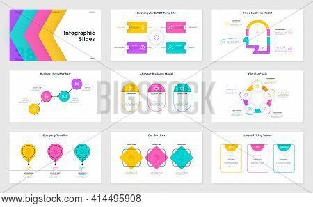 Bundle Of Infographic Presentation Slides - Swot Chart, Cycle Diagram, Head Business Model, Timeline