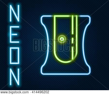 Glowing Neon Line Pencil Sharpener Icon Isolated On Black Background. Colorful Outline Concept. Vect