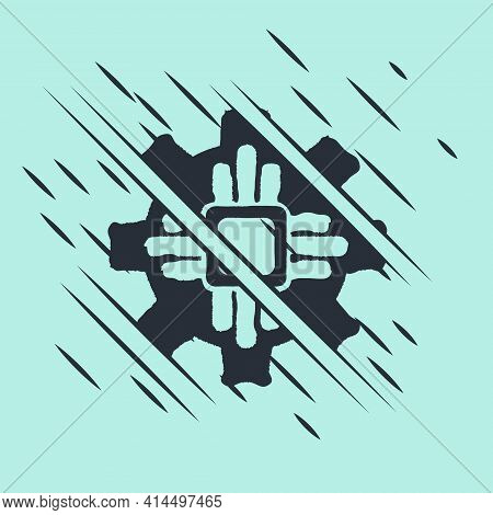 Black Processor Icon Isolated On Green Background. Cpu, Central Processing Unit, Microchip, Microcir