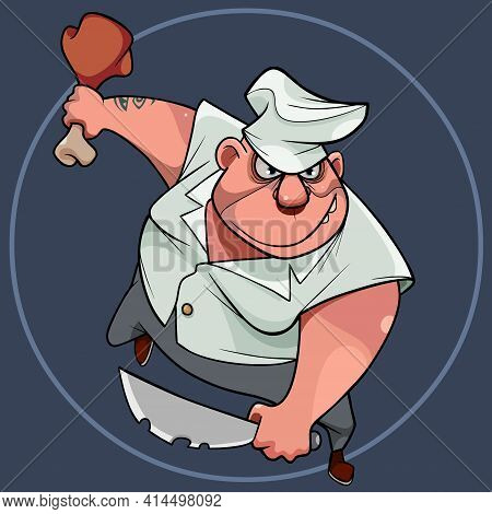 Funny Cartoon Furious Male Chef With Knife And Ham In Hands