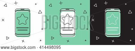 Set Mobile Phone With Review Rating Icon Isolated On White And Green, Black Background. Concept Of T