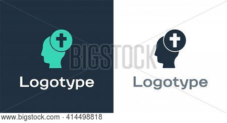 Logotype Man Graves Funeral Sorrow Icon Isolated On White Background. The Emotion Of Grief, Sadness,