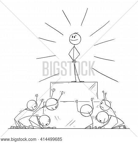 Group Of People Worship Or Invoke Leader Or Individual As God.vector Cartoon Stick Figure Illustrati