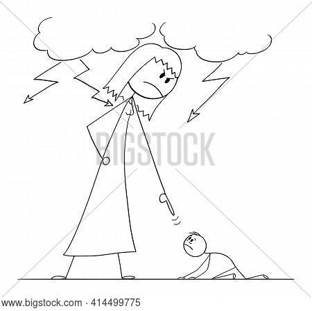 Woman Oppressing Man Using His Power, Vector Cartoon Stick Figure Illustration