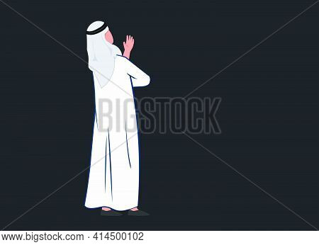 Arab Man Looking Up, Guy With Toab And Shumakh Standing And Thinking