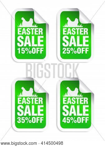 Easter Sale Green Sticker. Sale 15%, 25%, 35%, 45% Off. Stickers Set With Chicken. Vector Illustrati