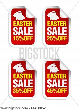 Easter Sale Red Sticker. Sale 15%, 25%, 35%, 45% Off. Stickers Set With Bunny. Vector Illustration