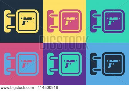 Pop Art Hunting Shop With Rifle And Gun Weapon Icon Isolated On Color Background. Supermarket Or Sto