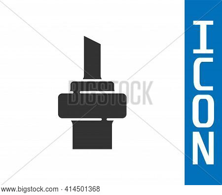 Grey Wooden Cork For Wine Icon Isolated On White Background. Vector