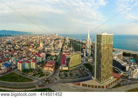 Aerial Panoramic Image Of Beautiful Batumi Made With Drone In Sunny Summer Weather. Batumi Is Capita