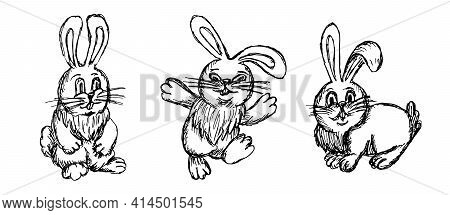 Vector Linear Set Of Black And White Rabbits In Different Poses. Cute Easter Animal. Rough Linear Fr