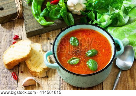 The Concept Of Healthy And Diet Food, Vegetarian Dish. Tomato Soup Or Gazpacho Soup With Croutons On