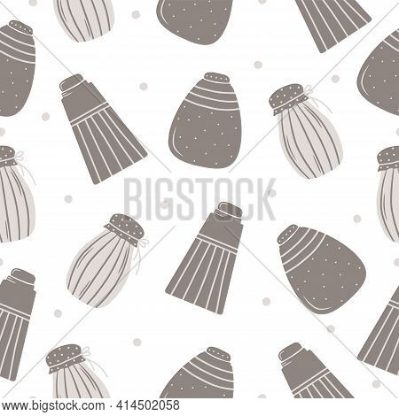 Seamless Pattern With Hand Drawn Jars For Products On A White Background. Kitchen Utensils And Utens