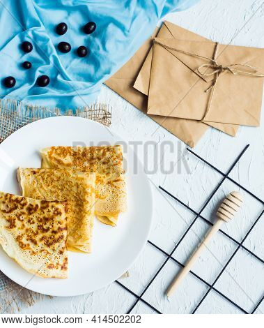 Russian Cuisine. Homemade Thin Pancakes On Plate. Place For Inscription. Maslenitsa. Food For Breakf
