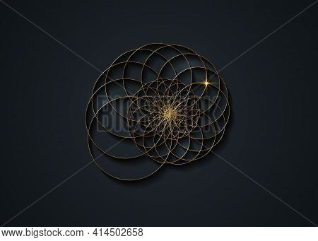 Snail Spiral Logo. Sea Shell Of Gold Circles. Sacred Geometry Logo Template. Logarithmic Sequences.