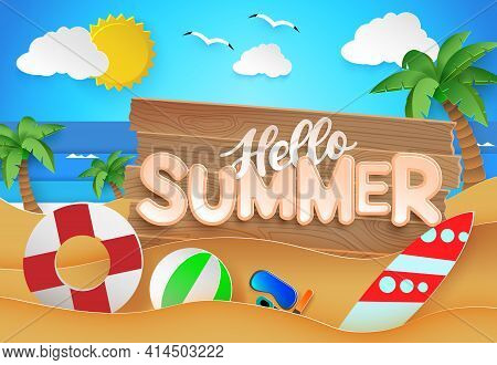 Summer Sale Vector Banner Template. Summer Sale Text In White Space For Messages With Up To 50% Off