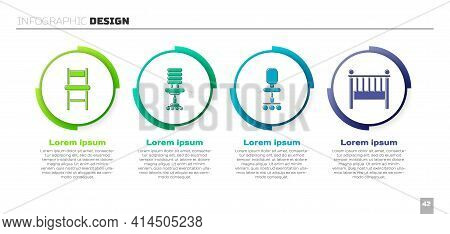 Set Chair, Office Chair, Office Chair And Baby Crib Cradle Bed. Business Infographic Template. Vecto
