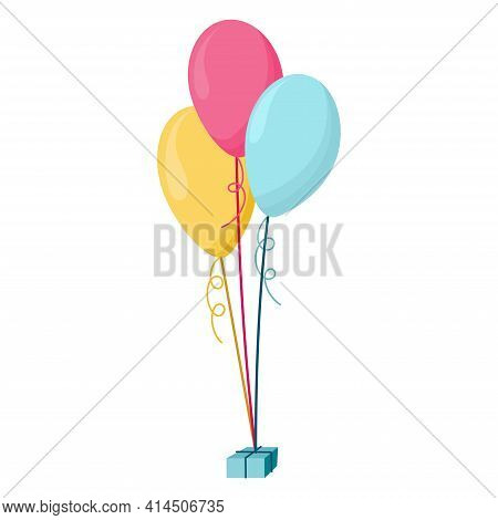 Set, Bunches And Groups Of Color Glossy Helium Balloons Isolated On Transparent Background. Frosted
