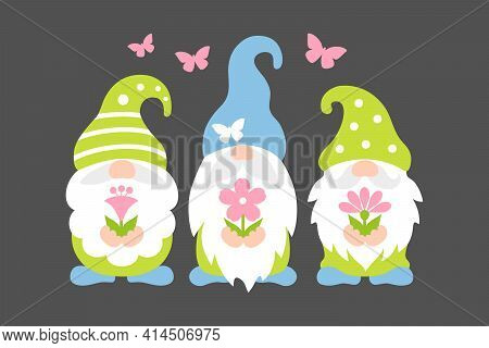 Spring Gnome Vector. Cute Scandinavian Gnomes With Flowers In Cartoon Style.