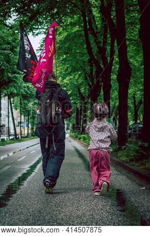 Hamburg, Germany - July 2 2017: Father And Daughter At Colourful And Peaceful Demonstration Against