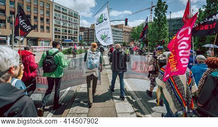 Hamburg, Germany - July 2 2017: View Onto Colourful And Peaceful Demonstration Against G20 Summit An