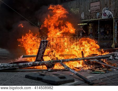 Sternschanze Hamburg, Germany - July 7, 2017: Street Fire During G20 Riot On Schulterblatt