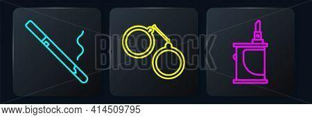 Set Line Cigarette, Electronic Cigarette And Handcuffs. Black Square Button. Vector