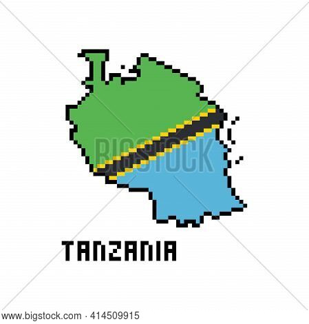United Republic Of Tanzania, Pixel Art African Country Map With Flag Isolated On White Background.