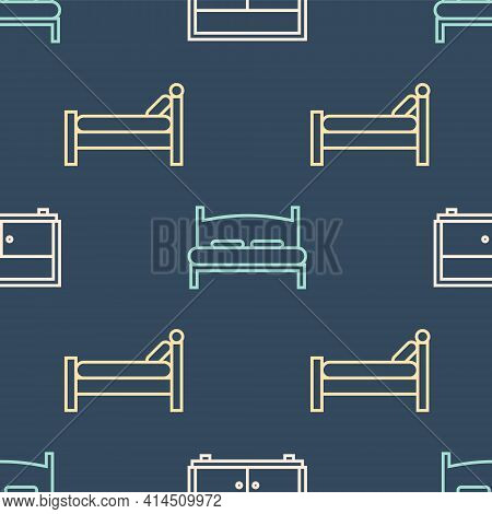 Set Line Chest Of Drawers, Bed And Big Bed On Seamless Pattern. Vector