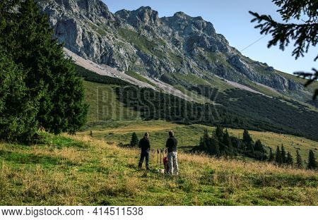 Scenic Panoramic View Of Idyllic Alpine Mountain Peak Landscape On A Beautiful Sunny Day With Blue S