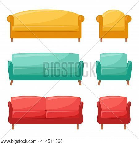 Set Of Colored Sofas And Armchairs. Collection Of Comfortable Sofas And Armchairs For Interior Desig