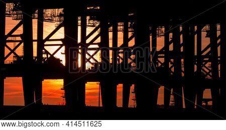Silhouette Of Industry Steel Harbor Port Cranes At Burchardkai Hamburg Germany