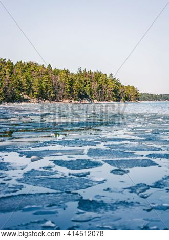 Ice Floe On Small Islands In The Archipelago Of Stockholm. Sweden. Water Landscape