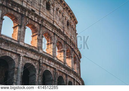 Coliseum (colosseum), Rome, Italy. Ancient Roman Coliseum Is Famous Landmark, Top Tourist Attraction