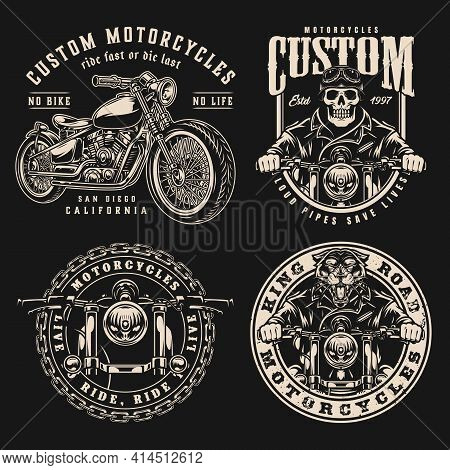 Vintage Motorcycle Designs Set With Custom Motorbikes Skeleton And Ferocious Panther Bikers Labels A