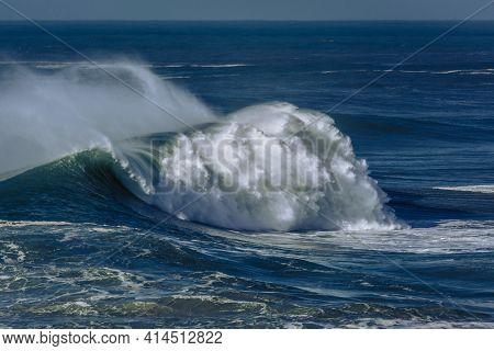 Big Wave Breaking At Praia Do Norte, Nazare