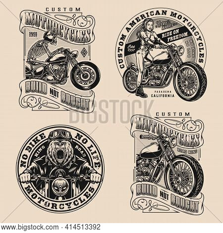 Motorcycle Vintage Designs Composition With Skeleton Angry Bear Pretty Girl Bikers And Custom Motorb