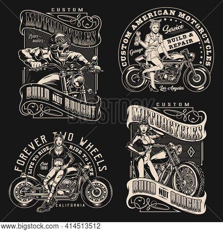 Custom Motorcycle Vintage Designs Set With Skeleton Moto Rider Biker Girl Motorbike Repair Service L