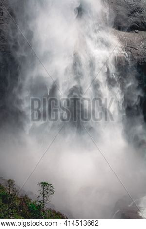 Close Up Of Water Flowing From Upper Yosemite Falls Smashing On The Rock Walls, Yosemite National Pa