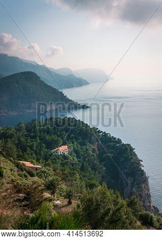 Panorama Of Mediterranean Sea Coast Shore Green Nature Landscape Mallorca Balearic Spain