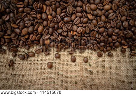 Background From Coffee Beans.many Roasted Coffee Coffees. Copy Space.