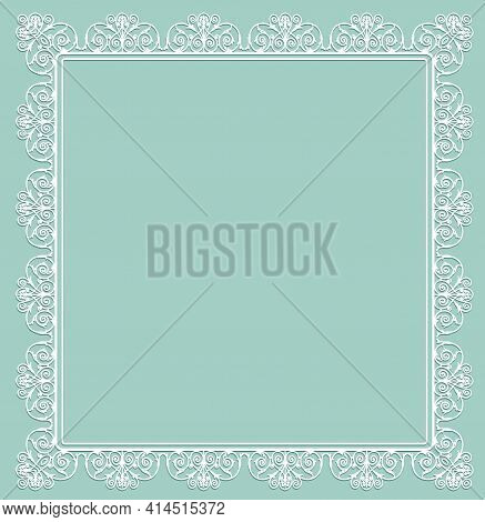 White Openwork Frame On A Turquoise Background