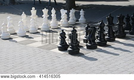 Large Chess Playground In The Parkis Reday For Playing