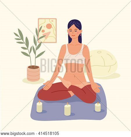 Meditation. A Young Girl With Crossed Legs With Closed Eyes, In A Relaxed State, Sits On The Floor A