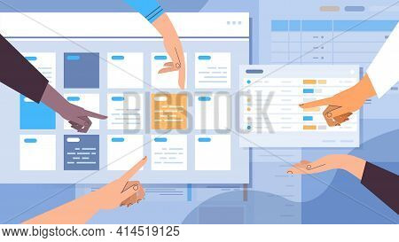 Businesspeople Hands Planning Day Scheduling Appointment In Online Calendar App Agenda Meeting Plan