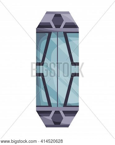 Lift Mechanism In Cartoon Style. Modern Elevator Made Of Glass And Metal. Cabins Of Mechanical Lift.