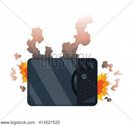 Broken Home Appliances. Damaged Microwave. Domestic Icon Isolated On White. Burning Electronics. Hom