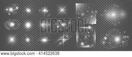 White Glowing Transparent Light Effect Lens Flare Big Set Design