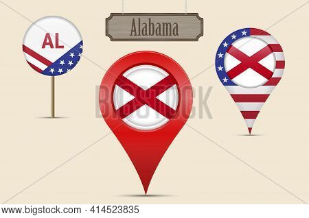 Alabama Us State Round Flag. Map Pin, Red Map Marker, Location Pointer. Hanging Wood Sign In Vintage